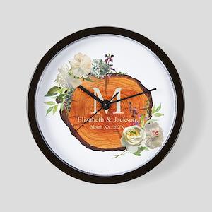 Floral Wood Wedding Monogram Wall Clock