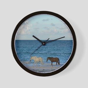 Wild Horses On The Beach Wall Clock