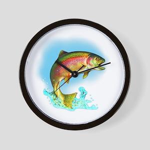 Jumping Rainbow Trout Wall Clock