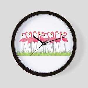 Cuban Pink Flamingos Wall Clock