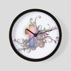 Swirls N Cross Wall Clock