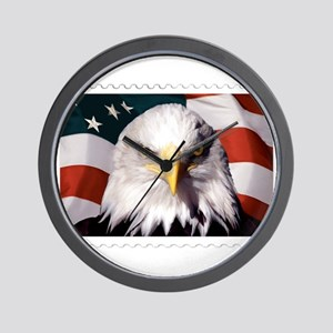 American Bald Eagle with Flag Wall Clock