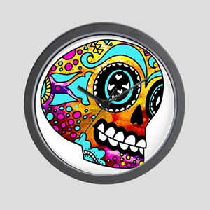 Color Splash Sugar Skull by OneCuriousH Wall Clock