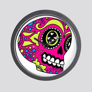 Pink Sugar Skull in Love Wall Clock