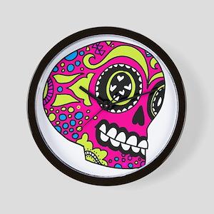 Pink Sugar Skull in Love Wall Clock