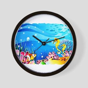 Undersea Coral, Fish Seahorses Wall Clock