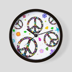 Peace symbols and flowers pat Wall Clock