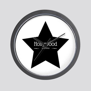 Hollywood California Black Star Wall Clock