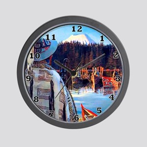 Tlingit Canoes Wall Clock