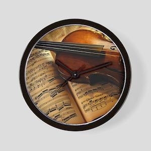 Violin On Music Sheet Wall Clock