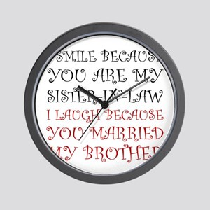 Smile Sister In Law Wall Clock