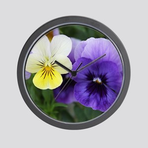 Italian Purple and Yellow Pansy Flowers Wall Clock