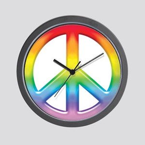 Gay Pride Rainbow Peace Symbol Wall Clock