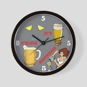 5'oclock Somewhere Bar Wall Clock