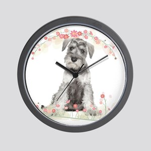 Schnauzer Flowers Wall Clock