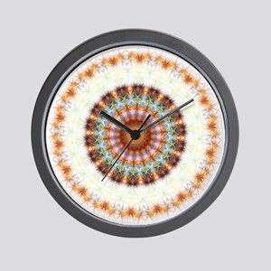 Detailed Orange Earth Mandala Wall Clock