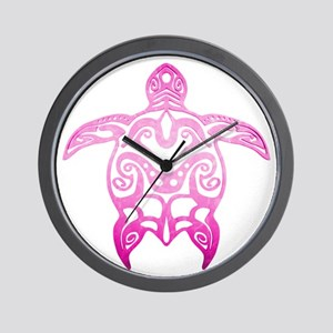 Pink Tribal Turtle Wall Clock