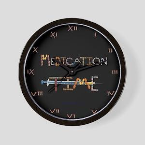 Medication Time Black Wall Clock
