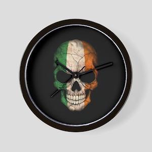 Irish Flag Skull on Black Wall Clock