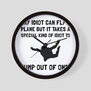 Idiot Skydiving Wall Clock