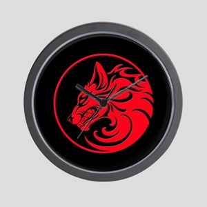 Growling Red and Black Wolf Circle Wall Clock