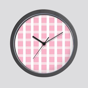 Pink and White Checked Wall Clock