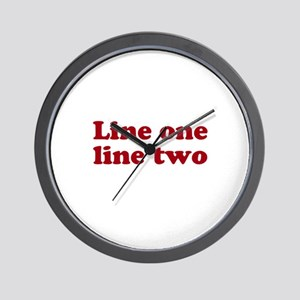 Two Line Custom Message in Dark Red Wall Clock