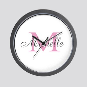 Personalized pink monogram Wall Clock