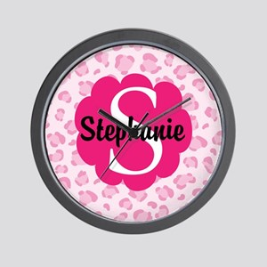 Personalized Pink Name Monogram Gift Wall Clock