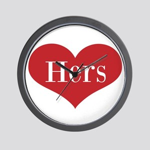 His and Hers red heart Wall Clock