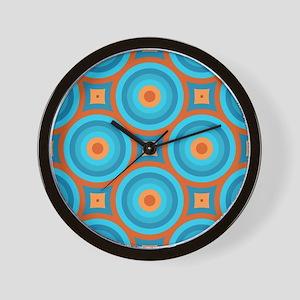 Orange and Blue Mid Century Modern Wall Clock