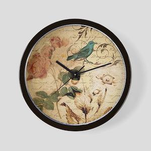 teal bird vintage roses botanical art Wall Clock