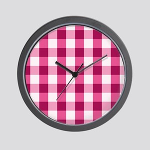 Simple White Pink Gingham Pattern Wall Clock