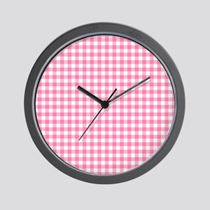 Pink Gingham Pattern Wall Clock