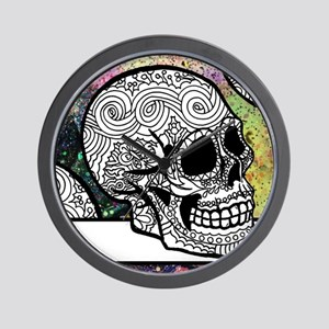 Sugar Skulls Color Splash Designs #WITH Wall Clock