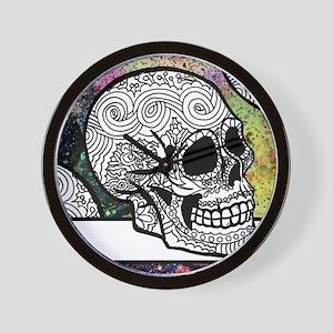 Sugar Skulls Color Splash Designs #WITH Wall Clock