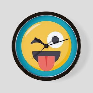 Winky Tongue Emoji Wall Clock