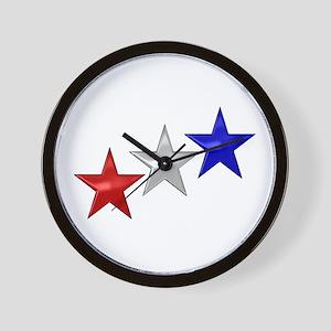 Three Shiny Stars Wall Clock