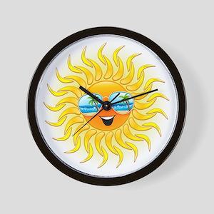 Summer Sun Cartoon with Sunglasses Wall Clock