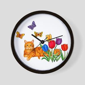 Orange Cat In Tulips Wall Clock