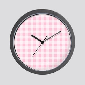 Pink Gingham Checkered Pattern Wall Clock