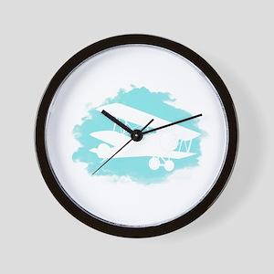 Biplane Cloud Silhouette Wall Clock