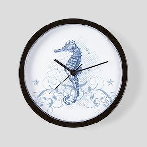Blue Seahorse Wall Clock