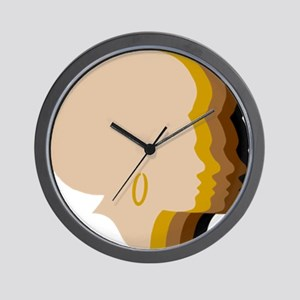 Women Afro Five Tones Wall Clock