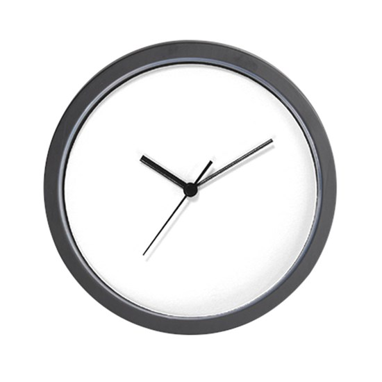 Unmarked analog clock]