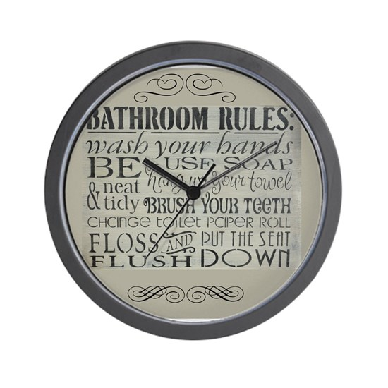 Bathroom Rules Wall Clock By Custom Gifts Cafepress