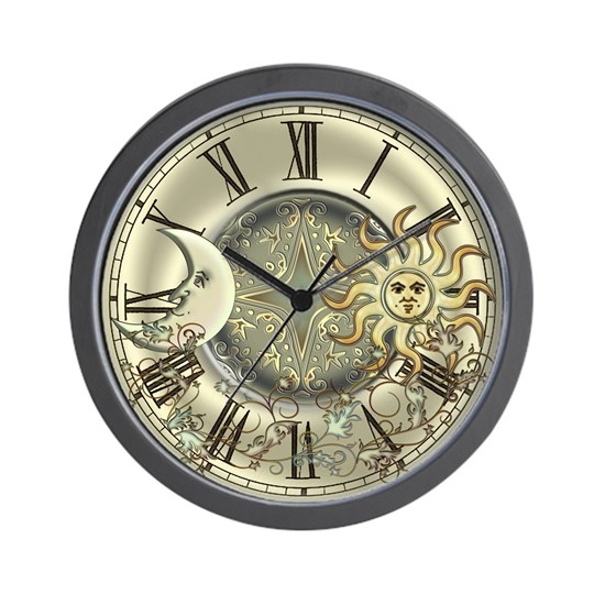 Celestial Sun And Moon Wall Clock By Specialeetees Cafepress