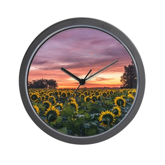 Kansas Sunflower Sunrise Wall Clock