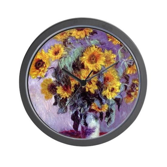 Bouquet of Sunflowers by Claude Monet Wall Clock