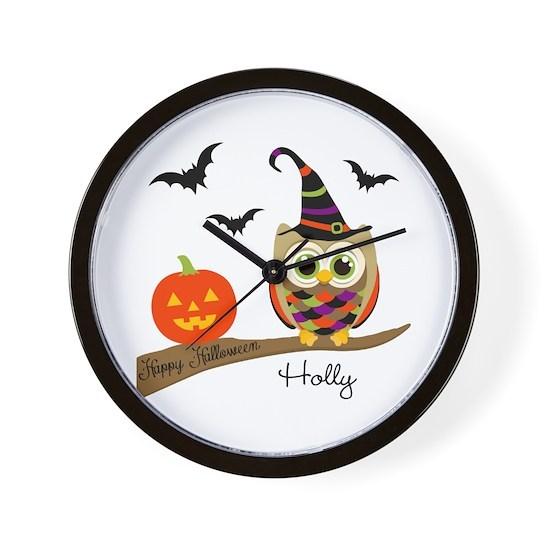 Custom name Halloween owl Wall Clock
